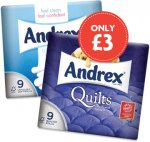 Andrex White, Natural, Quilted, Puppies on a Roll, Aloe Vera, Shea Butter, Toilet Tissue (9) was £5.39 now £3.00 @ Nisa Local