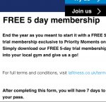 LA fitness 5day free O2 priority