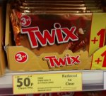 Twix 3+1 (2x25g) 50p a pack. instore @ Tesco