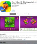 For kids Free @ AppStore Merry Cubes HD - 3d cube puzzles to develop fine motor skills