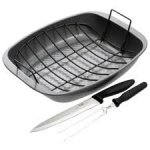 Prestige Non-stick Roasting Pan, Rack and Carving Knife Set £10 Tesco Direct
