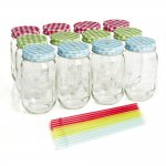 12 pack of mason style drinking jars with re usable straws. Black Bedroom Furniture Sets. Home Design Ideas