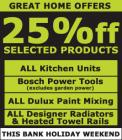20-25% off Selected items this Bank Holiday Weekend @ Homebase !