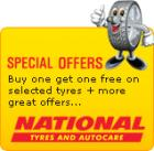 National buy one get one free on selected tyres