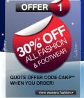 30% off ALL fashion and footwear from LOOK AGAIN - code CAKP - Ends midnight Monday!