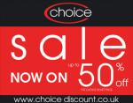 Choice Discount store! End of season sale 50% off, Mens, womens and childrens wear from 75p!