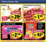 Lidl Weekend Offers 1kg Onions 29p, 400g Diced Steak £1.34, Floralys 10 XXL Loo Rolls £2.24, Crusti Croc 24 Pack Crisps 92p