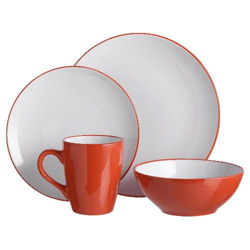 tesco coupe two tone dinner set 12 piece red was 13 now. Black Bedroom Furniture Sets. Home Design Ideas