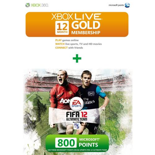 Xbox live gold membership for 12 month with 800 bonus points fifa 12