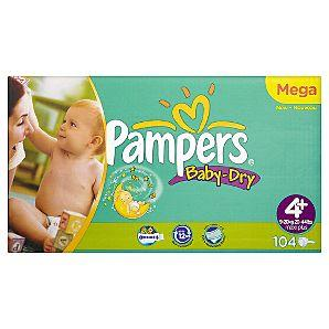 pampers baby dry mega pack various size example 4 104pc. Black Bedroom Furniture Sets. Home Design Ideas