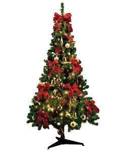1 8m 6ft green christmas tree with 60 piece decorations. Black Bedroom Furniture Sets. Home Design Ideas