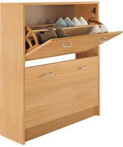shoe storage cabinet oak wood effect argos half. Black Bedroom Furniture Sets. Home Design Ideas