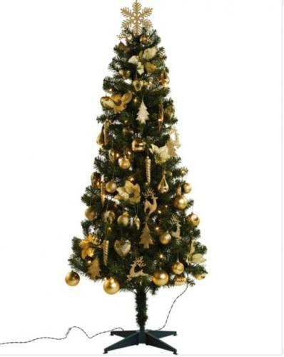 green pre lit christmas tree with gold decorations. Black Bedroom Furniture Sets. Home Design Ideas