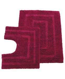 colour match tufted bath mat pedestal set in cranberry. Black Bedroom Furniture Sets. Home Design Ideas