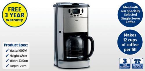 Crofton Coffee Maker And Grinder : Coffee Maker with Grinder ?34.99 @ ALDI INSTORE with 3 Year Warranty! - HotUKDeals