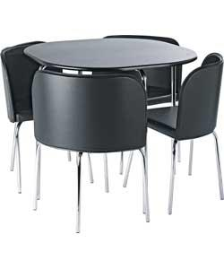 hygena amparo black dining table and 4 black chairs was. Black Bedroom Furniture Sets. Home Design Ideas