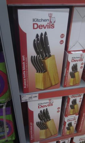Kitchen devils 9 piece knife block set further reduction for Kitchen devil knife set 9