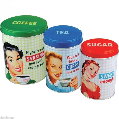 Retro design 60 39 s girls storage tin canisters tea coffee sugar set stackable ebay shoeboom - Tea coffee sugar stacking canisters ...