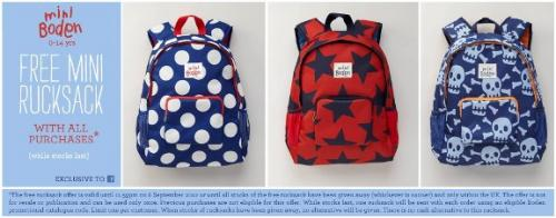 Free mini boden rucksack with all orders inc sale items for Mini boden sale deutschland