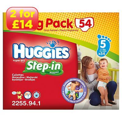 huggies step in big pack size 5 nappies 11 18kg 2 for 14. Black Bedroom Furniture Sets. Home Design Ideas