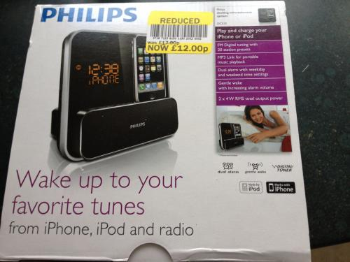 phillips dc315 ipod iphone dock alarm clock radio 12 tesco instore hotukdeals. Black Bedroom Furniture Sets. Home Design Ideas