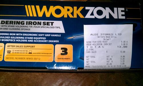 30w workzone soldering iron set at aldi sticker price scanned at just hotukdeals. Black Bedroom Furniture Sets. Home Design Ideas