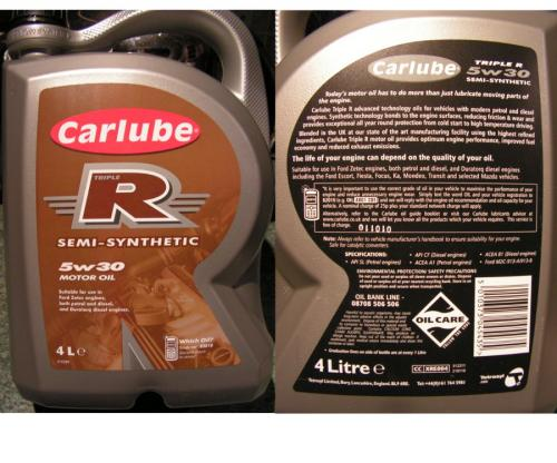 Carlube triple r semi synthetic motor oil 5w30 4l was 12 for Semi synthetic motor oil