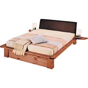 Nordic double pine and leather effect bed frame only 99 for Bed frame deals