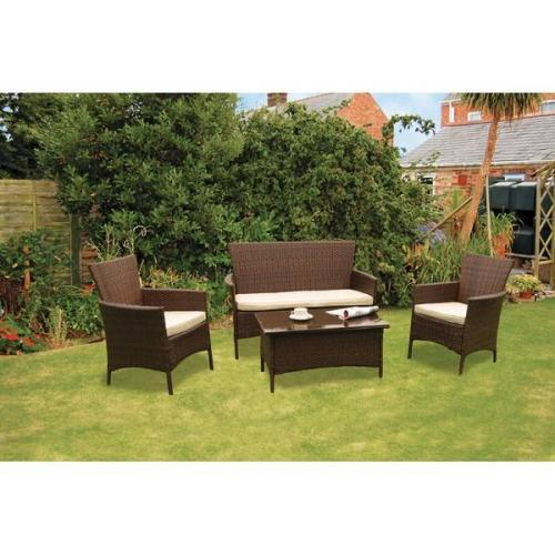 Kendal 4 piece rattan garden furniture set qd for Garden furniture deals