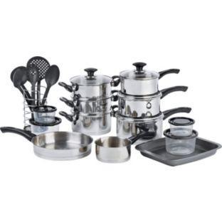19 piece supreme kitchen cookware set argos for Kitchen set argos