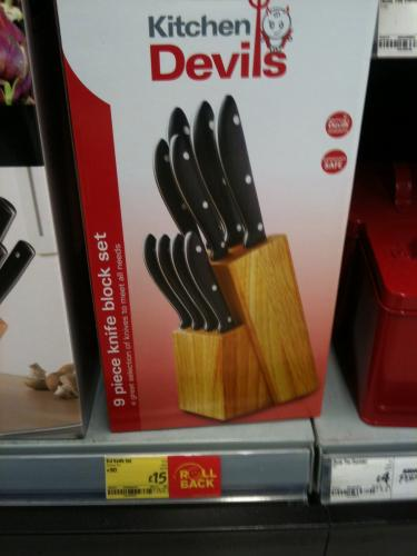 kitchen devils 9 piece knife block set 15 instore asda