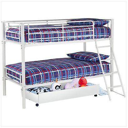 Kenny white bunk bed frame storage inc delivery for Bed frame deals