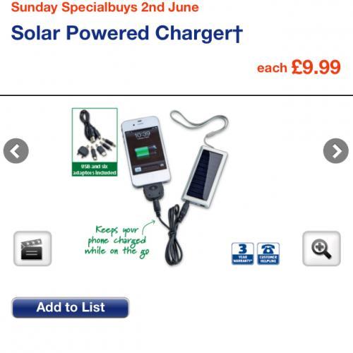 solar mobile phone charger aldi from sunday hotukdeals. Black Bedroom Furniture Sets. Home Design Ideas