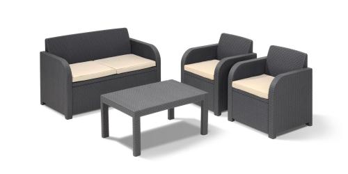 Rattan garden furniture set sofa table plus 2 chairs 115 for Garden furniture deals