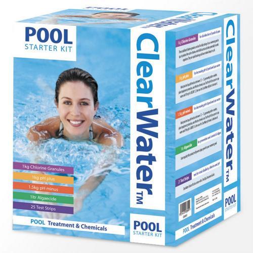 Clearwater Swimming Paddling Pool Starter Kit Chlorine Anti Algae Ph Test Strips