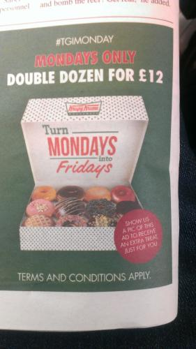 Krispy Kreme is offering Double Dozen Doughnuts (2 Dozen Original Glazed or 1 Dozen Original Glazed and 1 Dozen Assorted Doughnuts) for $13 with this Scan-able Coupon valid at participating locations.. Note: Valid at participating locations. Call ahead to make sure you store is accepting the coupon. Deal ends 10/12/ Limit 2 redemptions.