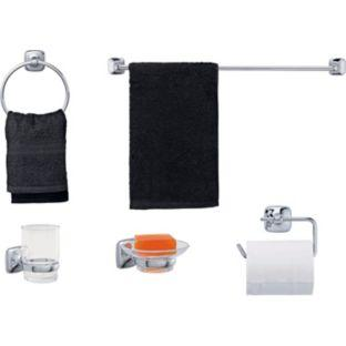 Hurley 5 piece bathroom accessory set chrome now for Bathroom accessories argos