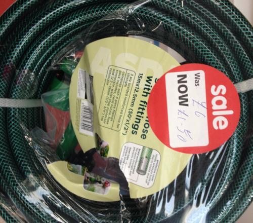 15m garden hose with fittings asda hotukdeals. Black Bedroom Furniture Sets. Home Design Ideas