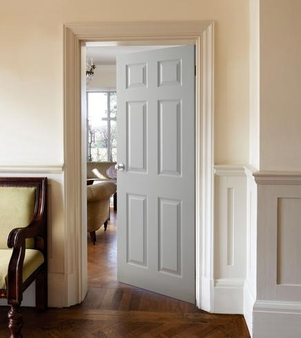 6 panel white internal doors howdens joinery for Moulded panel doors