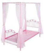 Argos Pink Hearts Metal 4 Poster Single Bed Frame And