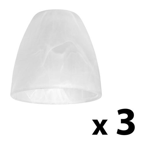Set Of 3 Frosted White Alabaster Glass Replacement Ceiling