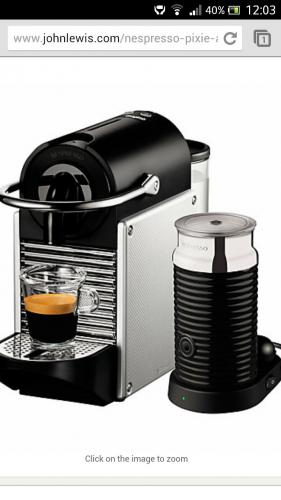 Nespresso Pixie Automatic Coffee Maker and Aeroccino by  -> Nespresso John Lewis