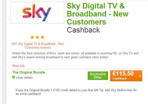Deals with sky for existing customers