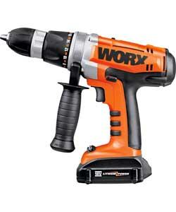 worx wx368 3 lithium ion hammer drill with 2 batteries 71. Black Bedroom Furniture Sets. Home Design Ideas