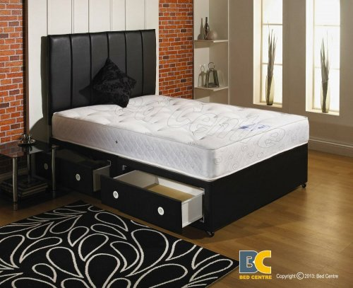 Orthomedic divan bed with mattress headboard and 2 drawers small double 4 39 0 132 bed express Bed and mattress deals