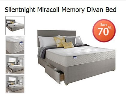 silentnight miracoil memory divan bed others 70 off sainsburys hotukdeals