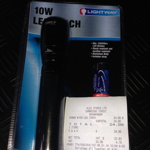 10 watt led cree torch at aldi hotukdeals. Black Bedroom Furniture Sets. Home Design Ideas