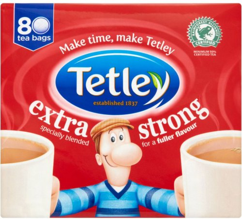 tetley extra strong tea bags 80 per pack 250g only 1. Black Bedroom Furniture Sets. Home Design Ideas