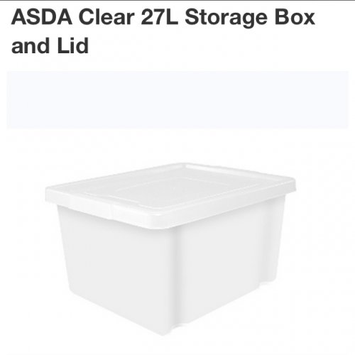 asda clear 27l storage box lid back in stock 3 each. Black Bedroom Furniture Sets. Home Design Ideas