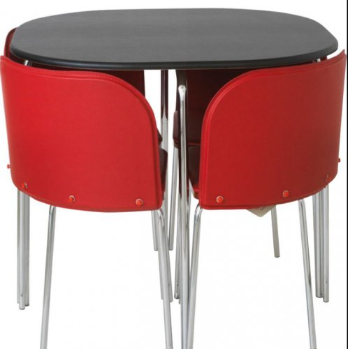 Hygena amparo black dining table and 4 red chairs 144 for 144 dining table